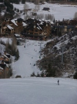 Groomed run and base station village at Beaver Creek, Colorado