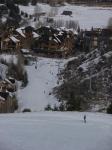 Groomed run and base station village at Beaver Creek, Colorado