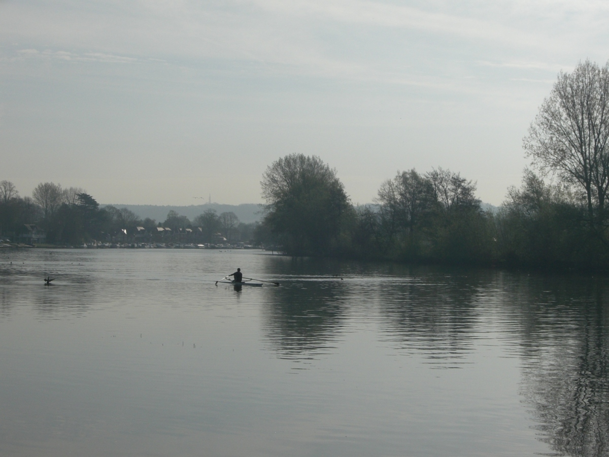 early morning rower thames path